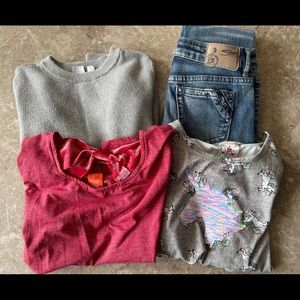 Girls bundle , 3 shirts and Silver jeans size 12